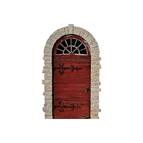 Weathered Red Arched Door with Large Hinges Wall Decal - 5