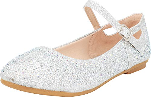 (Cambridge Select Girls' Glitter Crystal Rhinestone Side Cutout Mary Jane Ballet Flat (Toddler/Little Kid/Big Kid) (10 M US Toddler, Silver))