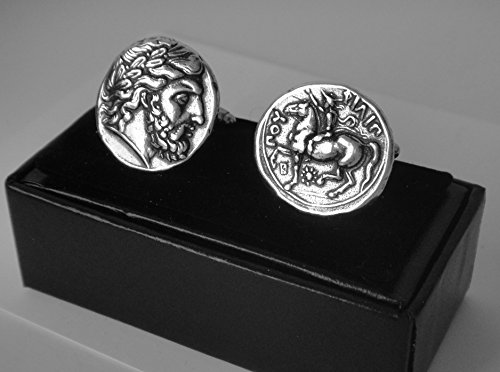 [Zeus, King of the Gods, Coin Cuff links, Minted by Phillip II, (#4C-S)] (Bulls 24k Gold Coin)