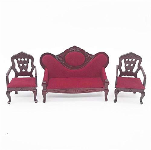 (EatingBiting(R) 1:12 Dollhouse Miniature Living Room Furniture Sofa Armchair Couch Table 3pcs)