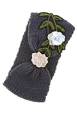 Trendy Fashion Jewelry Flower Patched Knot Accent Knitted Headband By Fashion Destination