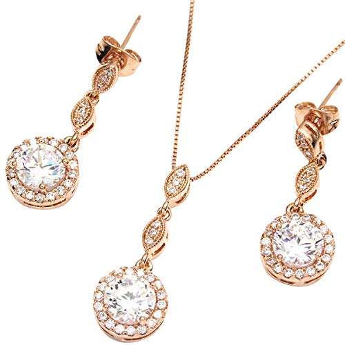 FC JORY Rose Gold Plated Diamante Halo Crystal CZ Round Bridal Wedding Necklace Dangle Drop Earrings Jewelry Set