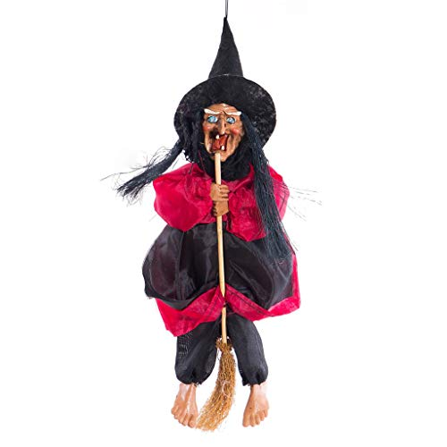 Unionm Halloween Toys, Halloween Props, Witch Hanging Pendant DIY Decoration Ghost's Day Glowing Voicing Scary Horrid Toys Haunted House Decoration for Home Yard Outdoor Indoor Party Bar (Red)