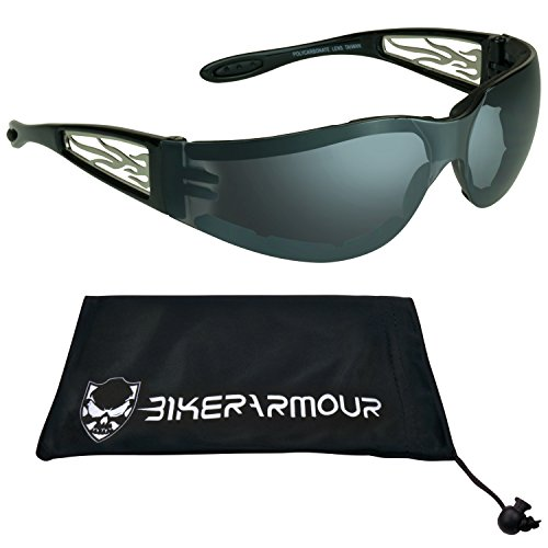 Motorcycle Sunglasses Foam Padded for Men and Women. Chrome Flame Design with Safety Polycarbonate Smoke Lens and Free Microfiber Cleaning Case.