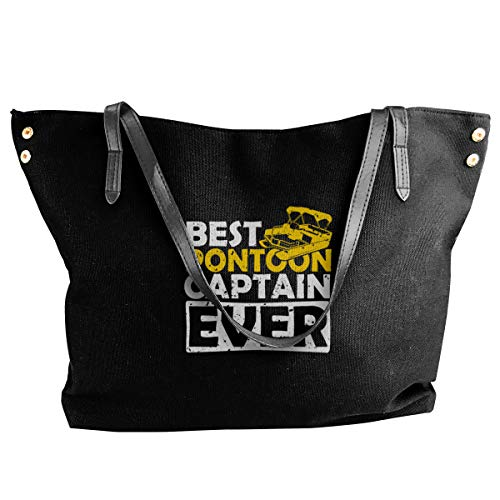 Best Pontoon Captain Ever Tote Bags Canvas Shoulder Handbag Satchel Purse Bag