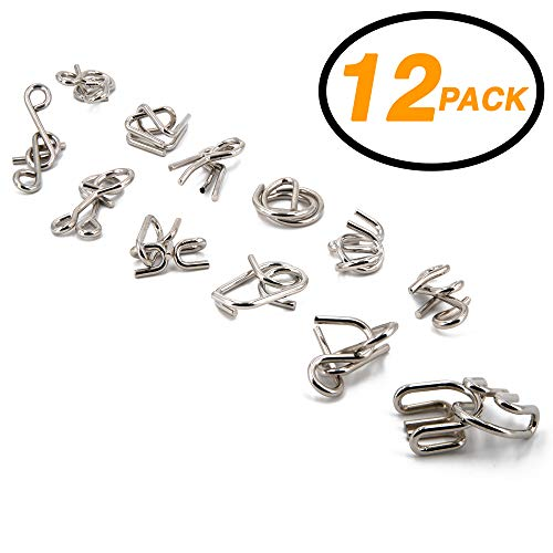 Srenta Assorted Brain Teasers Metal Wire IQ Test Puzzles Educational Intelligence Toys for Adult Children and Student, Pack of 12 ()