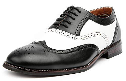 Ferro Aldo Arthur MFA139001D Mens Wingtip Two Tone Oxford Black and White Spectator Dress Shoes - Black, Size 10