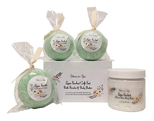 Sisters in Spa Lime Sorbet Gift Set with 3 Lime Coconut Bath Bombs & a 4 oz Lime Sorbet Body Butter - With Natural and Organic Ingredients for Lime Lovers - Made in the USA ()