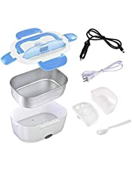 Car Electric Lunch Box,Portable Food Warmer Heating,Food-Grade Stainless Steel Container, 12V 110V 40W Adapter, Car Truck Home Work Use,Spoon and 2 Compartments Included,Blue…