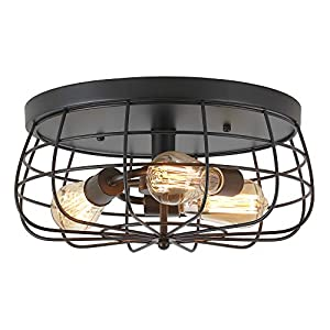 ZZ Joakoah Industrial 3-Light Rustic Semi Flush Mount Ceiling Light, Metal Cage Pendant Lighting Lamp Fixture for Kitchen Living Room Bedroom Hallway Stairway Garage, E26, Black Painting Finish.