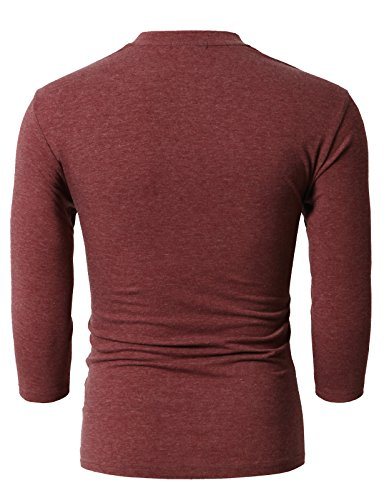 H2H Mens Stylish Tops Slim Fit Casual Fashion T-Shirts Polo Shirt Long Sleeve Tee DARKMAROON US M/Asia L (CMTTS0205) by H2H (Image #3)
