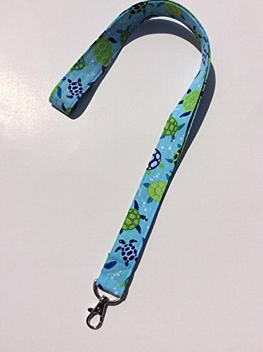 Turtles Lanyard ID Badge Key Keeper Keychain Camera Strap Fabric Green Blue Ocean Turtles ()
