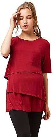 octmami Womens Maternity Nursing Top Stripes Breastfeeding Casual Short Sleeve Clothing