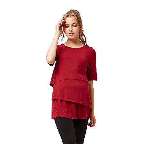 octmami Womens Maternity Nursing Top Stripes Breastfeeding Casual Short Sleeve Clothing (red, XL(Bust 38.6''-40.2'' Waist 46.1''-48.4''))
