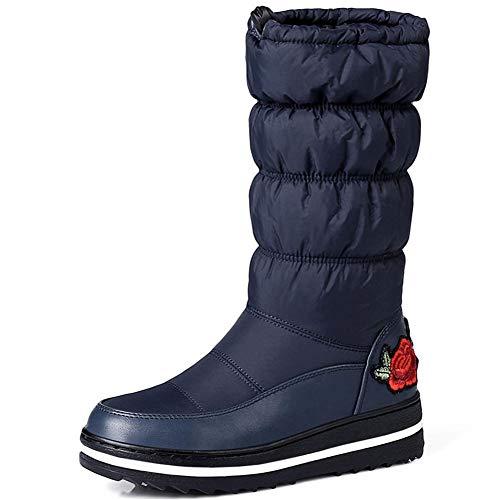 Kaloosh Women's Winter Waterproof Warm Down Fur Lined Metallic Decoration Rhinestone Flat Low Heel Round Toe Fashion Snow Boots 6blue