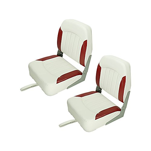 Premium Fishing/Hunting Low Back Fold-Down Boat Seats Seating Boat Accessories 4 Color 2 Packs (White/Red)