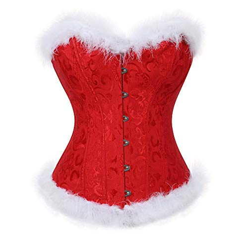 frawirshau Women's Christmas Santa Costume Sexy Corset Bustier Lingerie Top Red L]()