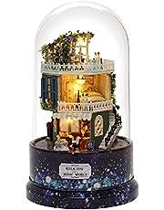 DIY Dollhouse, C-reative Dream House Miniature met Rotate Music Box Dust Cover LED Light