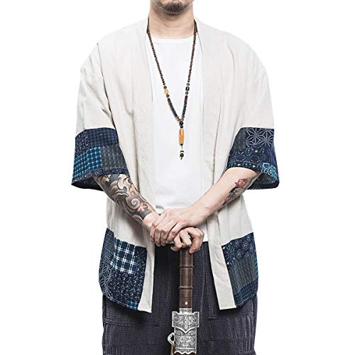 PRIJOUHE Men's Japanese Fashion Kimono Cardigan Plus Size Jacket Yukata Casual Cotton Linen Seven Sleeve Lightweight -