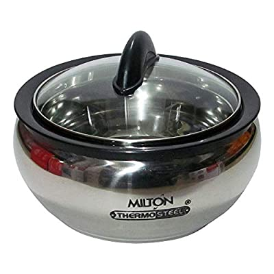Milton Clarion Thermo Steel, 2000 ML Clear Lid, Hot Pot, keep Food Hot/Cold Insulated Round Double Walled Casserole Gift Set with inner Stainless Steel, Dual Handles for Better Grip, Stylish, Trendy