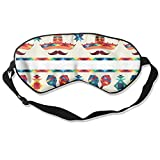 Double Sided Natural Silk Shading Sleep Mask & Blindfold, Super Smooth Breathable Eye Mask Mexican Borders with Icons