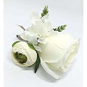 Hoocozi Groom Artificial Silk Boutonniere, Best Men Wedding Rose Penoy Flowerswith Ear of Wheat Soft Silk Corsage from, 1Pce, White 2