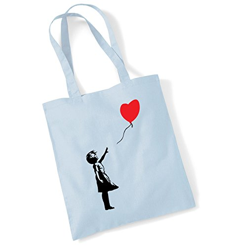 Printed Cotton Bag Shopper Banksy Pblue Girl Women Balloon Tote Gifts Bags For znAw1qqY0
