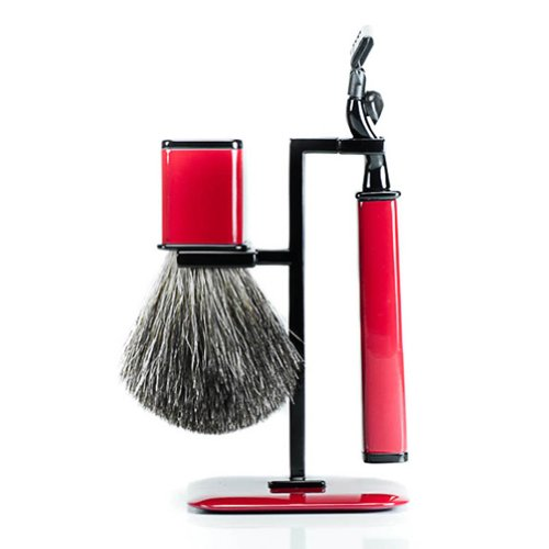Axwell Red Modern Shaving Set with Razor, Badger Brush and Stand by 2PO