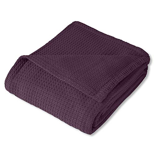 Sweet Home Collection 100% Fine Cotton Blanket Luxurious Basket Weave Stylish Design Soft and Comfortable All Season Warmth, King, Purple