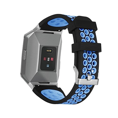 Price comparison product image Tiean Soft Silicone Replacement Sport Band Strap For Fitbit Ionic Smart Watch (Blue)