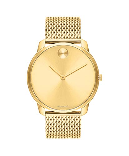 (Movado Bold, Yellow Gold Ion-Plated Stainless Steel Case, Gold Dial, Gold Ion-Plated Stainless Steel Mesh Bracelet, Men, 3600588)