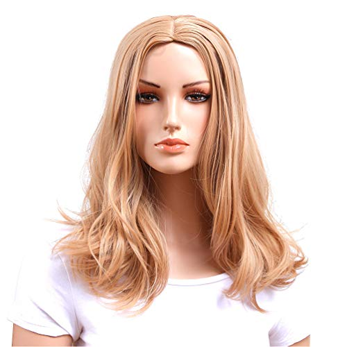Gotta Medium Shoulder Length Wigs for Women Wavy Blonde Synthetic Ladies Wig Premium Heat Resistant 100% Kanekalon Good Guarantee (light blonde)