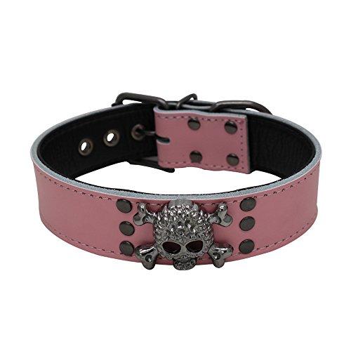Benala Genuine Leather Padded Black Skull Studded Dog Collar for Small Medium Dogs Pink,M ()