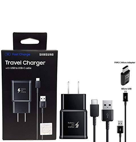 Adaptive Fast Charging Charger - for Samsung Galaxy S8/S8 plus/Note8 and Car Charger (US Retail Packing Kit) ()