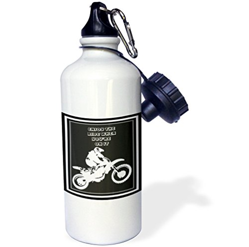 Adrenaline Bicycle - 3dRose wb_78775_1 Enjoy The Ride-Motocross, Action, Adrenaline, Adventure Sport, Alternative, Bike, Off Road Sports Water Bottle, 21 oz, White