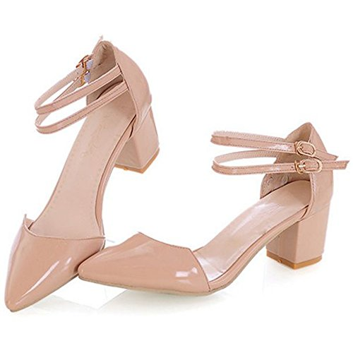 Medium Sandals LongFengMa Toe apricot Closed Elegant Heels Office Dress Women's T7fC7I