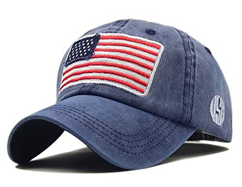 LOKIDVE Embroidered American Flag Baseball Cap Washed Cotton Low Profile Hat-Navy