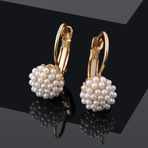 SujareeShop Fashion Women Lady Elegant Pearl Beads Ear Hoop Dangle Earrings Jewelry Gift - Hk Tiffany