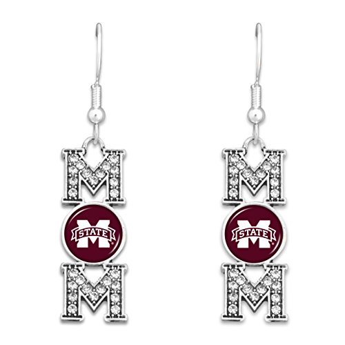 FTH Mississippi State Bulldogs MOM Earrings with Logo and Rhinestones