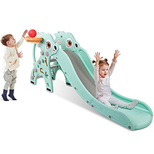 LONG 63-INCH TODDLER'S SLIDE WITH HOOP