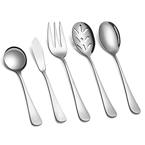 SHARECOOK 5-Piece 18/0 Stainless Steel Serving Set,Large Hostess Set with Round Edge,Mirror Finished,Dishwasher Safe -Spoons, Forks,Butter Knife& Slotted Spoon