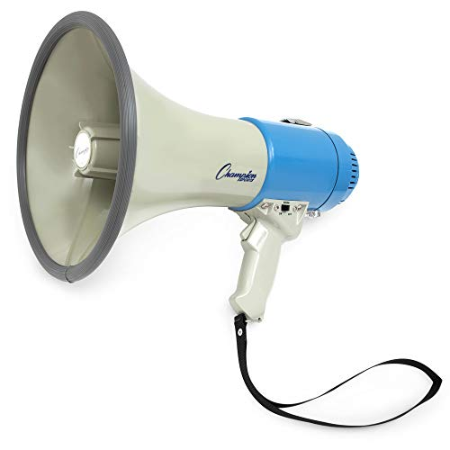 Megaphone Loudspeaker - Champion Sports Megaphone with Siren, Wrist Strap, 1200 Yard Range - Powerful Bullhorn Loudspeaker with Adjustable Volume Control for Sport Events, Concerts, Crowd Control