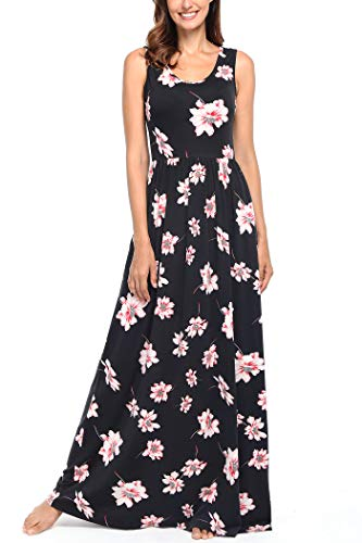(Comila Long Summer Dresses for Women Plus Size, Fashion Tank Top Sleeveless Practical Tank Maxi Dress Tropical Stylish Floral Flattering Loose Dress Black Pink XXL US(18/20))