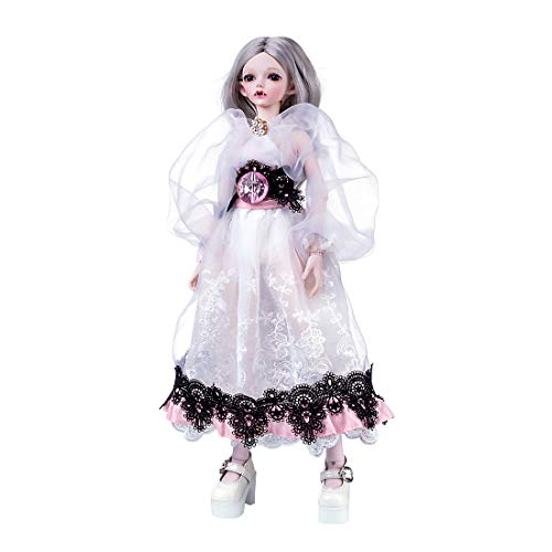 HMANE BJD Dolls, 1/4 Ball Jointed Doll Elf Girl Dolls with Costume Accessories Full Set (No Crown) - Light Skin Color