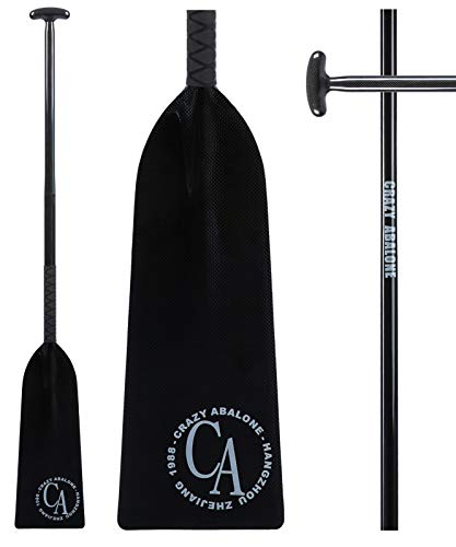 Carbon Canoe Paddle - CRAZY ABALONE Sport IDBF Approved Carbon Fiber Dragon Boat,Hybrid Paddle Black with T Handle and Anti-Slip Tape