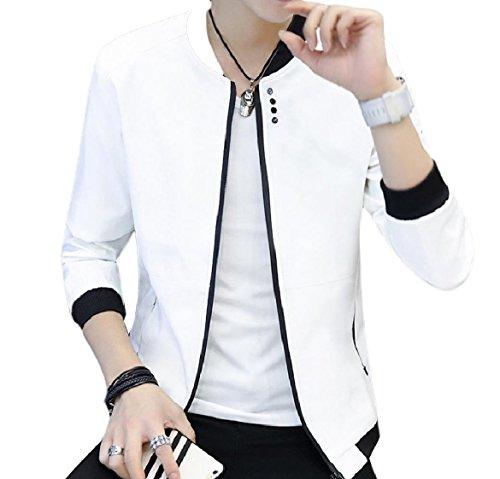 Alla Giacca Zip Bianca Coreana In Uomini sottile Forma Tasche Colore Howme Con Collo Puro w1TfXSq