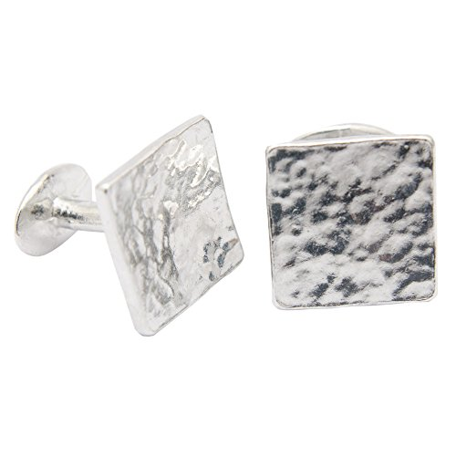 10th Anniversary Gift for Him - Square Beaten Pure Tin Cufflinks. (Gifts Tin Anniversary For Men)