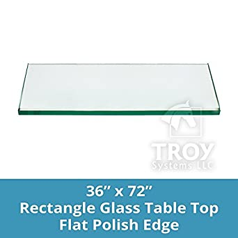 TroySys Rectangle Glass Table Top, 1/2 Inch Thick, Bevel Polished Edge,