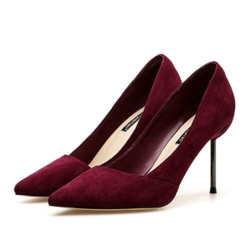 alto Estilo Mujer Wine Tacón Mujer tacón de Rojo Alto Pequeña Acentuado Fresco zapatos Vino con De Yukun Chica Salvaje Fina Red n76Txwf