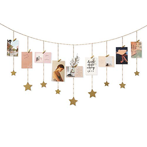 Mkono Hanging Photo Display Wood Stars Garland with Chains Picture Frame Collage with 30 Wood Clips Wall Art Decoration for Home Office Nursery Room Dorm, Best, Gold ()